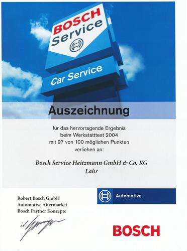 Urkunde Bosch Werkstatttest 2004