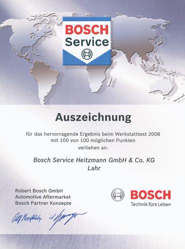 Urkunde Bosch Werkstatttest 2008