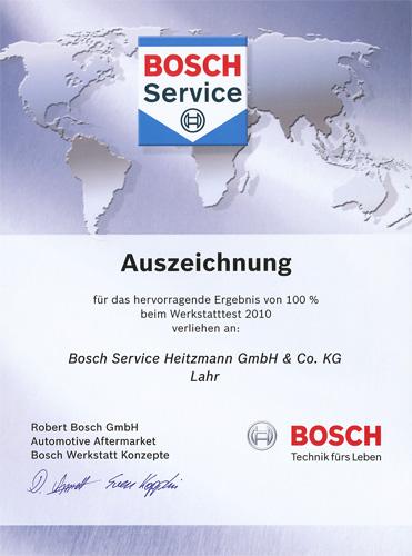 Urkunde Bosch Werkstatttest 20012