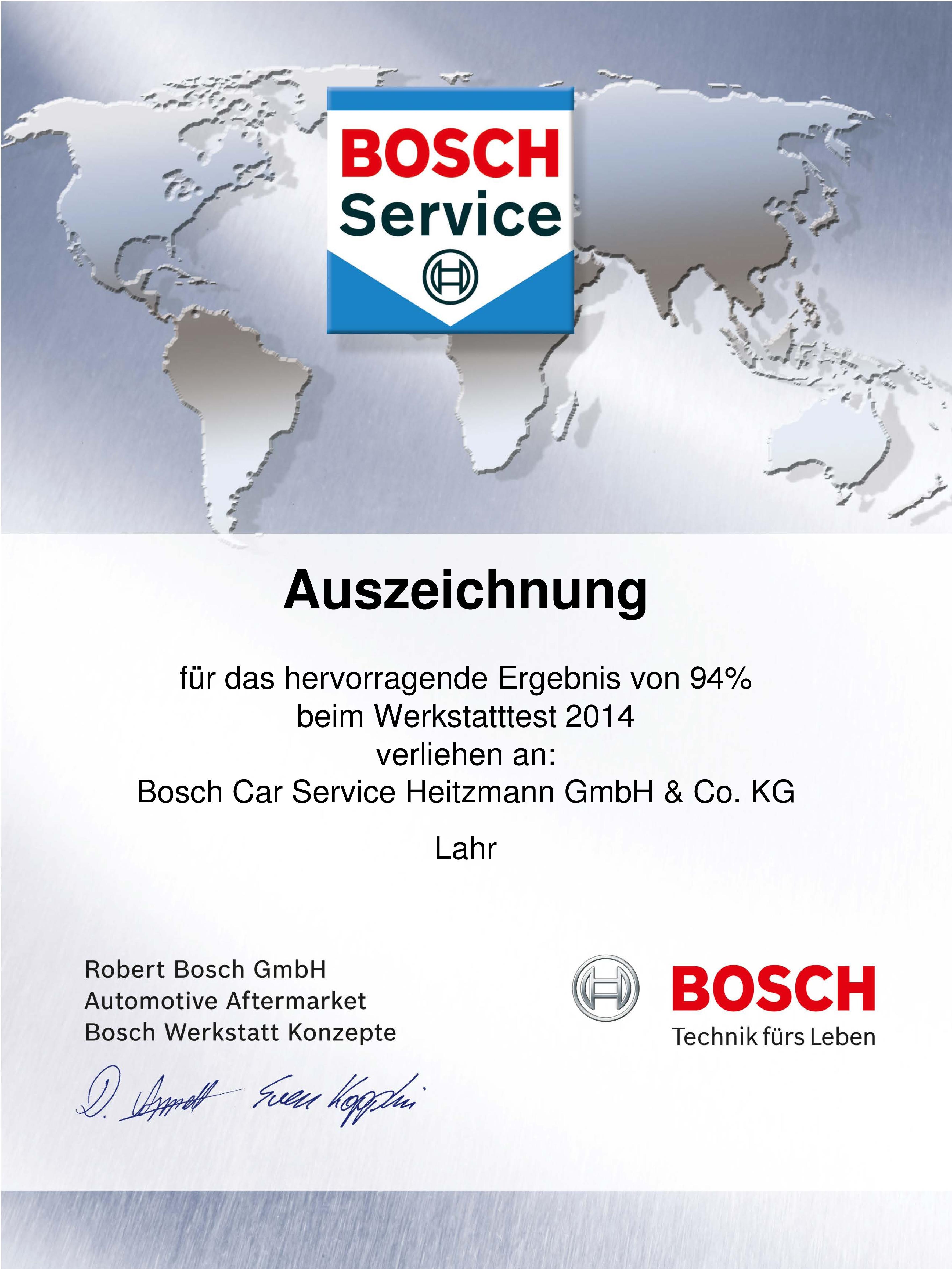 Urkunde Bosch Werkstatttest 2014